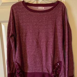 MAURICES Lace Up Crew Neck Pullover Sweater